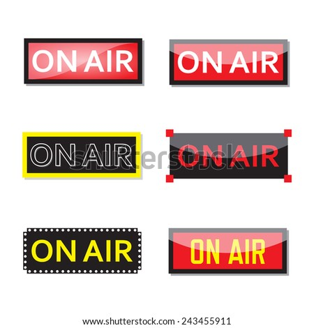 Set of on air sign. - stock vector