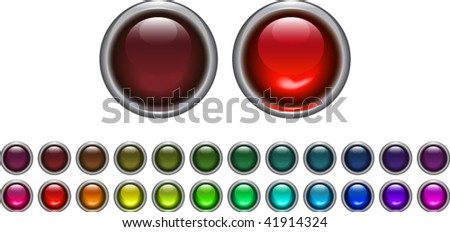 "set of ""on"" and ""off"" light buttons in different colors"