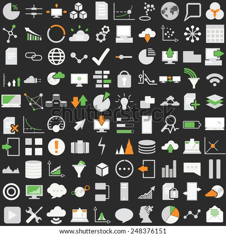Set of one hundred technology vector icons. Data analysis,statistics, social, web and technology icons over black background. - stock vector