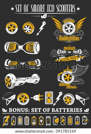 Set of one-wheeled and two-wheeled Self-balancing electric scooter. Collection logos and badges scooter with battery elements. - stock vector