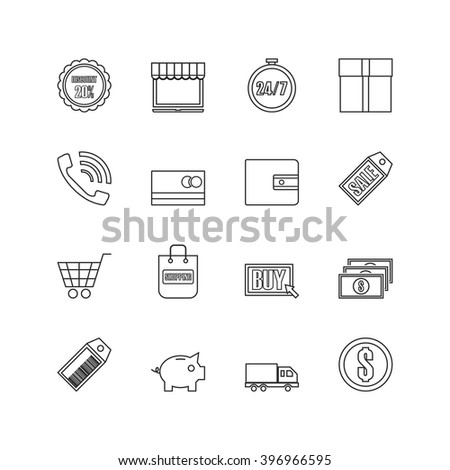 set of online shopping outline icon - stock vector