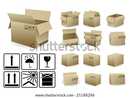 set of open and closed shipping box with condition symbols - stock vector