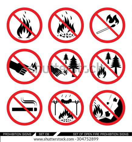 Set of open fire prohibition signs. Collection of prohibition signs. Open fire banned. No lighting fire in nature. Signs of danger. Signs of alerts. Fire icons. - stock vector