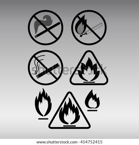 Set of open fire prohibition signs. Fire icons. - stock vector