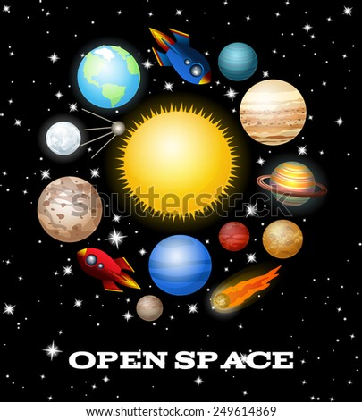 Set of Open Space Elements. Vector illustration - stock vector
