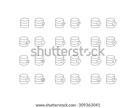 Set of operations with database icons in line style - stock vector
