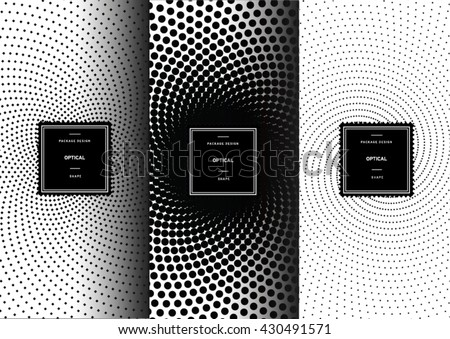 Set of optical art patterns for background and stickers with logos. Vector packaging design elements and templates. - stock vector