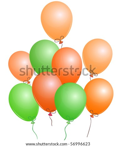 Set of orange and green party balloons,  EPS10 compatible illustration