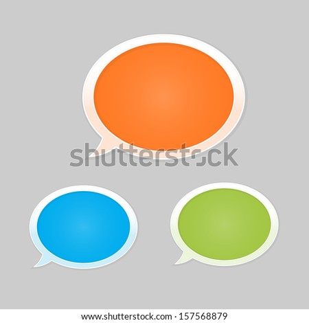 Set of orange, blue and green glossy blank speech bubbles / speech bubbles / The communication