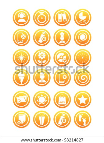 set of 21 orange different signs - stock vector