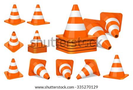 Set of orange plastic traffic cones icon - stock vector
