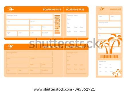 set of orange tickets isolated. vector illustration - stock vector