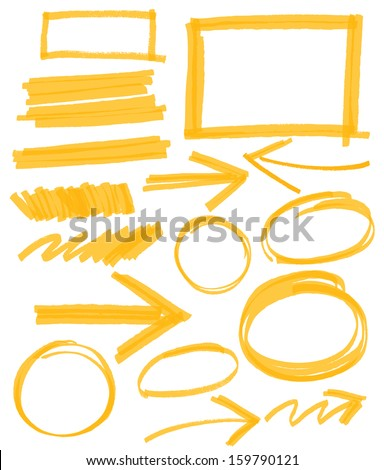 set of orange vector abstract hand-painted marker - stock vector