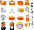 Set of orange vector icons. Isolated on white - stock vector