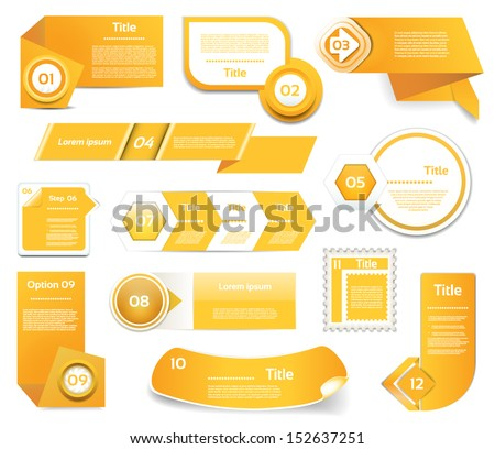 Set of orange vector progress, version, step icons. eps 10  - stock vector