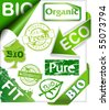 Set of organic and bio stickers, ribbons, stamps and labels. - stock vector