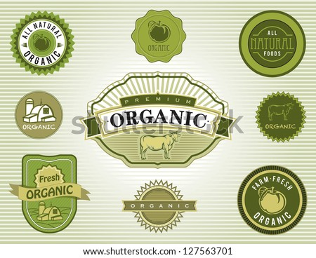 Set of organic and natural food labels and badges - stock vector
