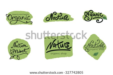Set of organic and nature food logos and labels.  - stock vector