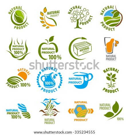 Set of organic-bio labels on the white background - stock vector