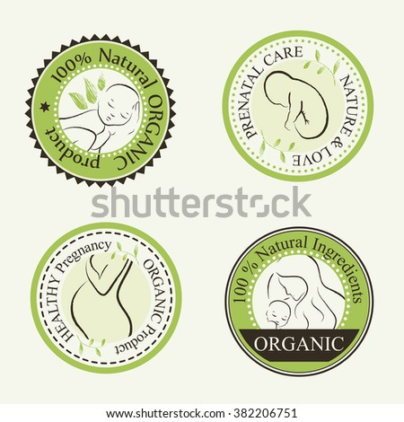 Set of Organic Cosmetics Design elements (round badges) with contoured pregnant women, mother, unborn and newborn babies decorated by hand drawn green leaves