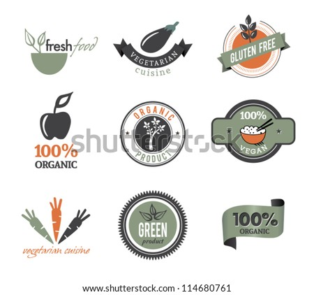 Set Of Organic Icons And Stamps - stock vector