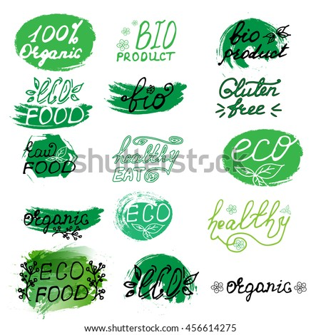 Set of organic labels. Hand drawn signs. Organic tags and elements for cafe,restaurants, products packaging etc. Vector illustration