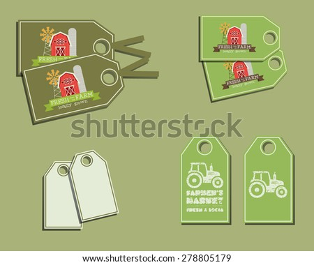 Set of organic labels - stickers for natural farm products. Ecology theme. Green eco design. Vector illustration. - stock vector