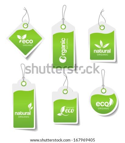 Set of organic labels - stickers for natural products. - stock vector