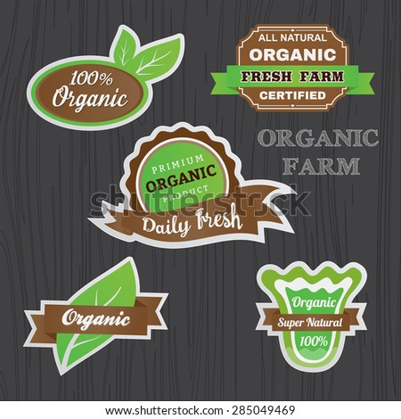Set of Organic vegetables logo sticker design for emblem. banner, logo, badge, label template || green and brown color tone design - stock vector