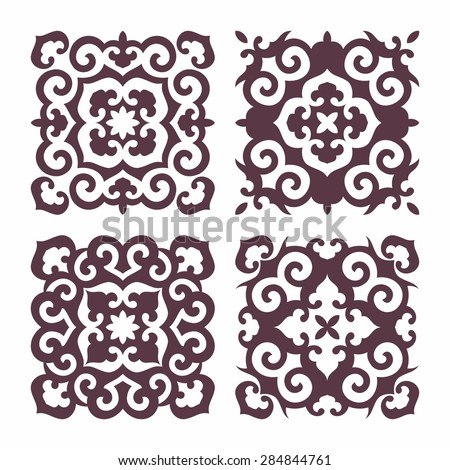 Set of oriental decorative elements in silhouette style. Islam, Arabic, Asian motifs. Square form - stock vector