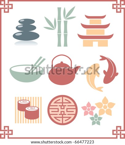 Set of Oriental Icons - stock vector