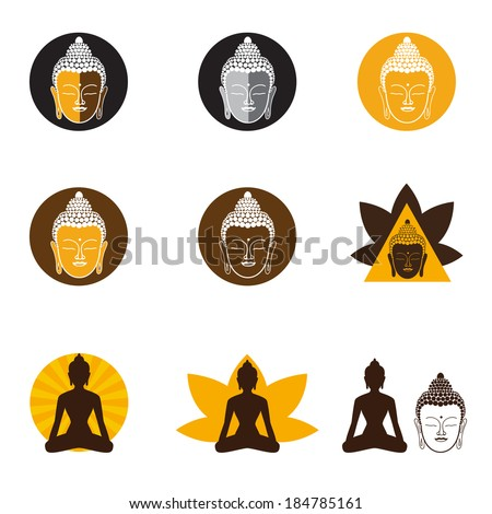 Set of Oriental icons. Templates of symbols of the Buddha, lotus, meditation, and others. Vector Collection. - stock vector