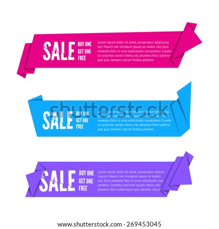 Set of Origami paper ribbons for sale. Vector flat banner design for advertising wit space for text