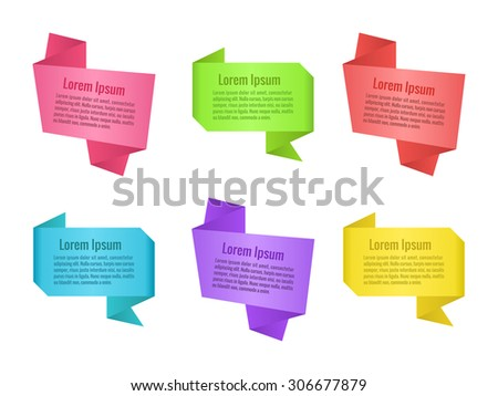 Set of origami speech bubbles. Colorful banners for design. Vector illustration. - stock vector