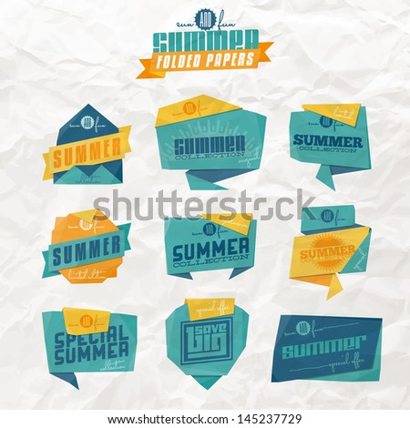 Set of origami styled summer related labels. Raster JPG version (without crumpled paper texture) also available  in portfolio. - stock vector