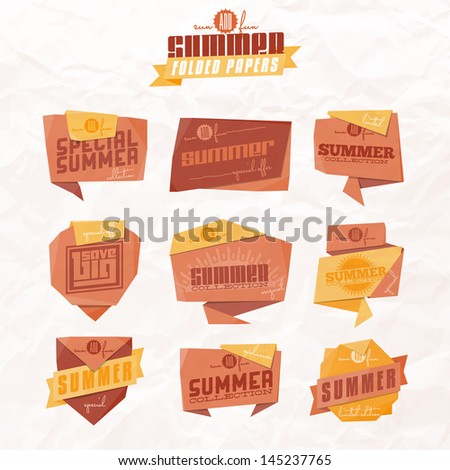 Set of origami styled summer related labels. Raster JPG version (without crumpled paper texture) also available  in portfolio.