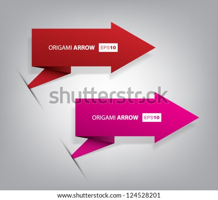 Set of origami vector arrow banners with shadow for websites or business design - stock vector