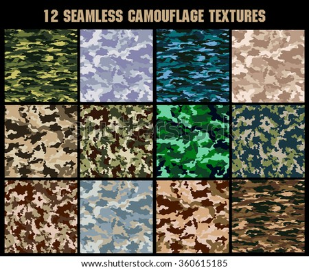Set of original camouflage  patterns. Seamless backgrounds - stock vector