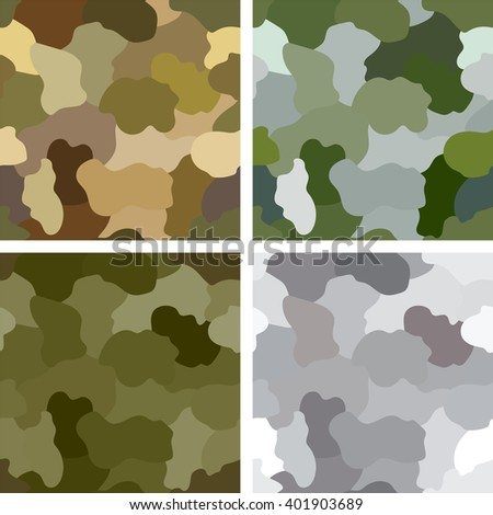 Set of original camouflage patterns. Seamless backgrounds. - stock vector