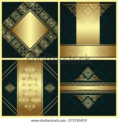 Set of original cards with royal decoration. Vintage frames and borders in a gold. All cards have vintage seamless background       - stock vector