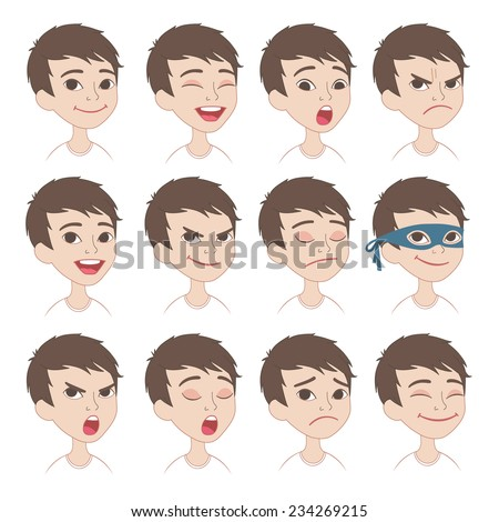 Set of original cartoon character different facial expressions. Caucasian boy face emotions vector icons isolated on background - stock vector