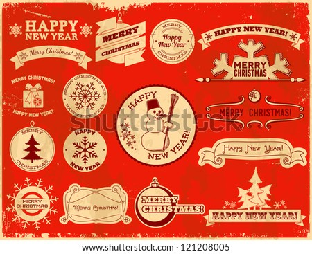 Set of original Christmas themed vintage labels - stock vector
