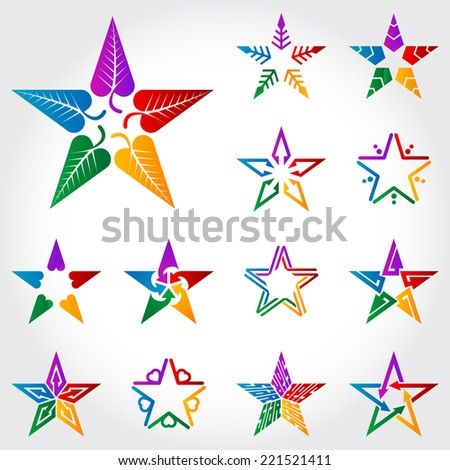 Set of original colorful vector stars with leafs, arrows, hearts