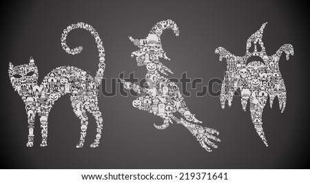 Set of original Halloween symbols, for greeting cards, made of little icons EPS 8. - stock vector