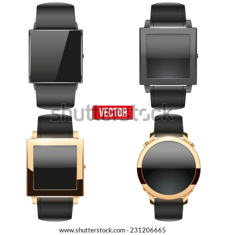 Set of original Smart design example wrist watch with empty display. Vector Illustration on white background. - stock vector