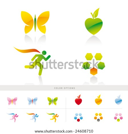 Set of 4 original symbols with color options - stock vector