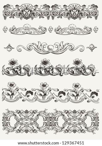 Set Of Original Vintage Calligraphic Design Elements - stock vector