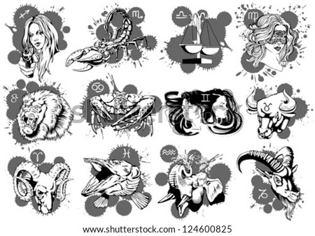 Set of original zodiac signs - stock vector