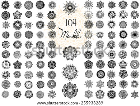 Set of Ornament round mandalas. Geometric circle element made in vector. Perfect set for any other kind of design, birthday and other holiday, kaleidoscope, medallion, yoga, india, arabic - stock vector