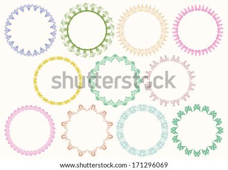 set of ornamental circle border - stock vector